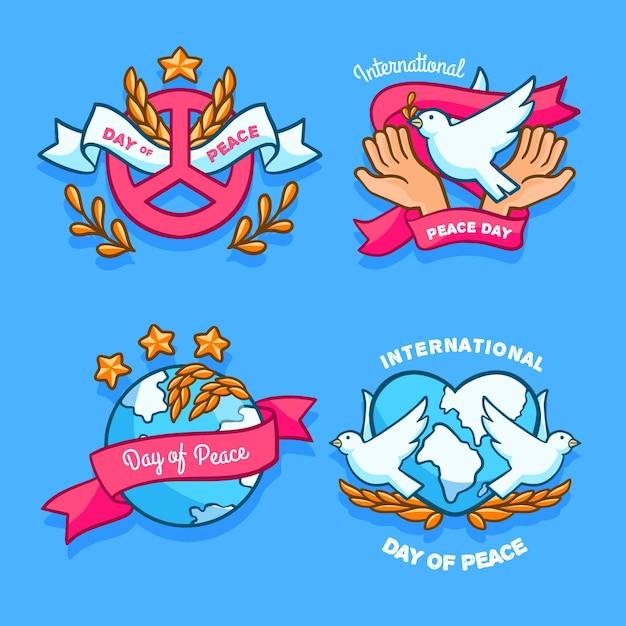手描きの平和ラベルの国際デーセット 無料ベクター