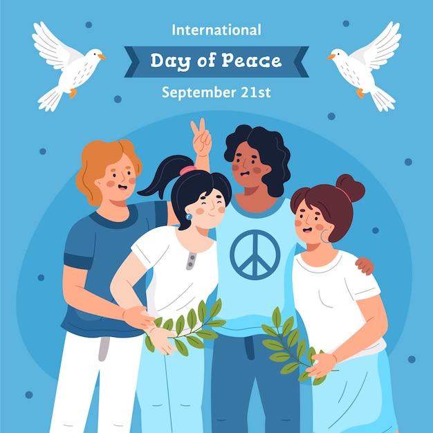 Ручной обращается международный день мира Бесплатные векторы