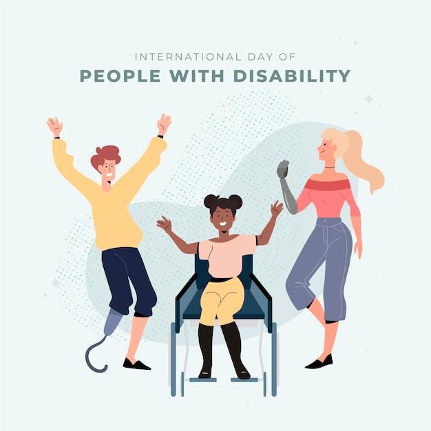 Ручной обращается международный день людей с инвалидностью Бесплатные векторы