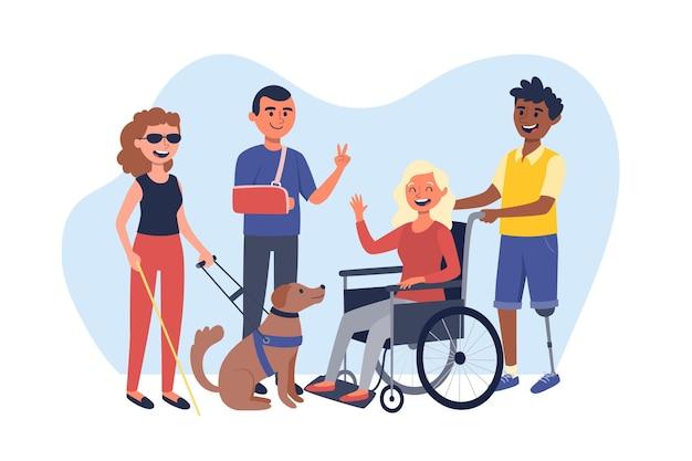 Ручной обращается международный день людей с инвалидностью Premium векторы