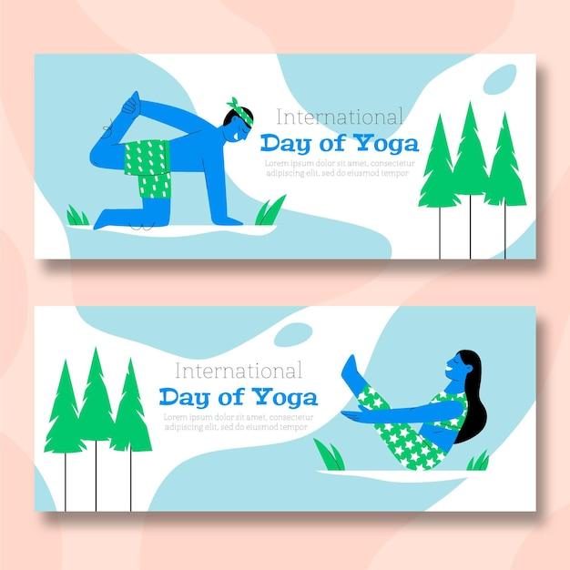 Нарисованный рукой международный день знамени йоги Бесплатные векторы