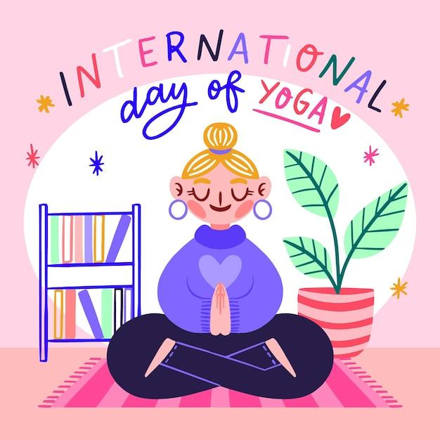 Нарисованный рукой международный день йоги проиллюстрированный Бесплатные векторы
