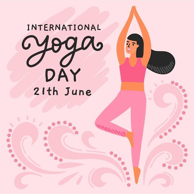 Ручной обращается международный день йоги с женщиной Бесплатные векторы
