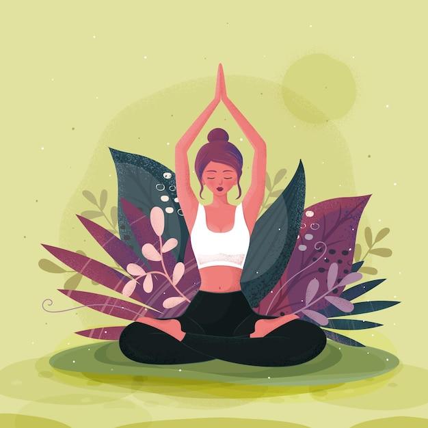 Ручной обращается международный день йоги Бесплатные векторы