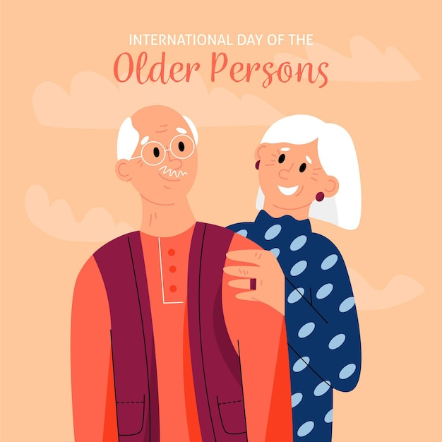 Hand drawn international day of the older persons with grandparents Free Vector