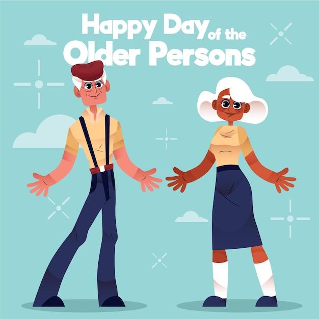 Giornata internazionale delle persone anziane disegnata a mano Vettore gratuito