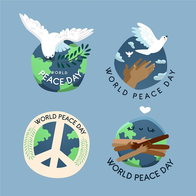 Hand drawn international day of peace badges Free Vector