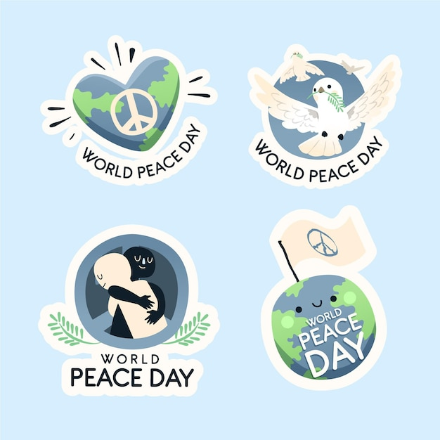 Hand drawn international day of peace labels Free Vector