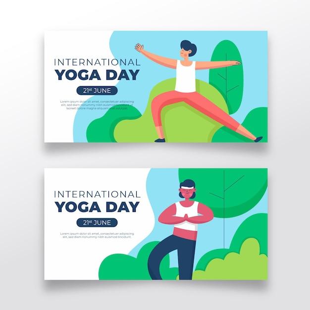 Giornata internazionale disegnata a mano della bandiera di yoga Vettore gratuito