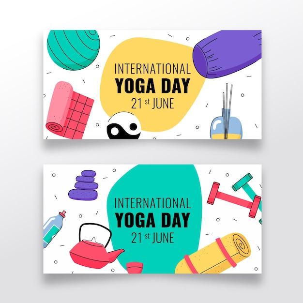 Hand drawn international day of yoga banner Free Vector
