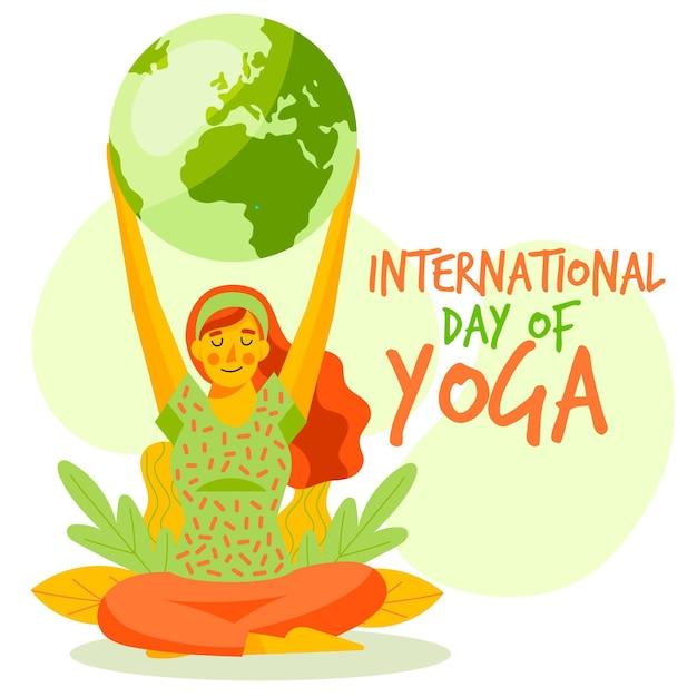 Hand drawn international day of yoga Free Vector