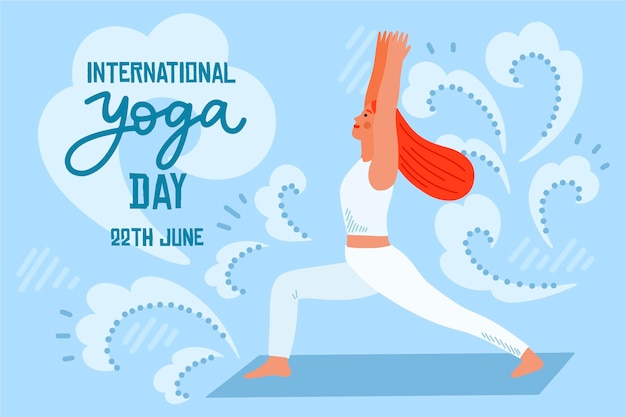 Hand drawn international day of yoga Free Vector