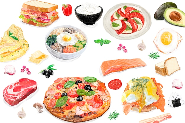 Hand drawn international food watercolor style Free Vector