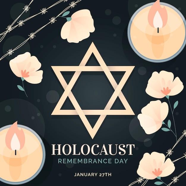Giornata internazionale della memoria dell'olocausto disegnata a mano Vettore gratuito