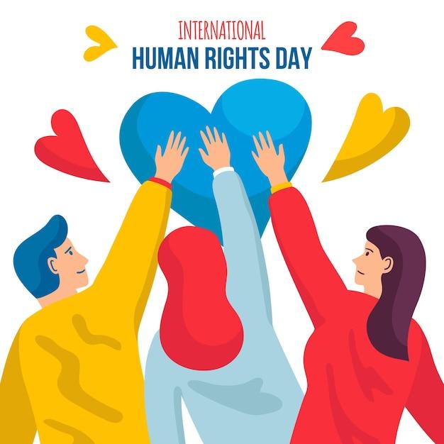 Hand drawn international human right day illustrated Premium Vector
