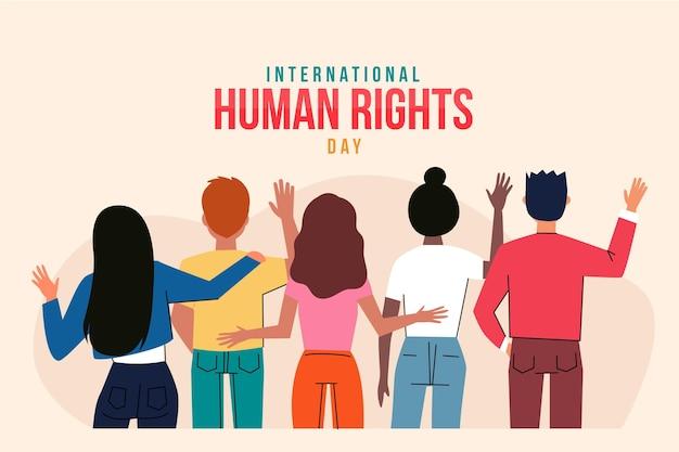 手描きの国際人権デーのイラスト 無料ベクター