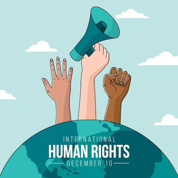Ручной обращается фон международного дня прав человека Premium векторы