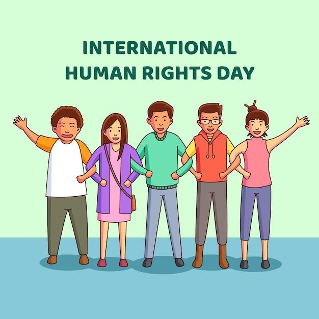 手描きの国際人権デー 無料ベクター