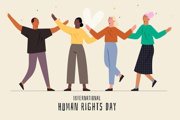 手描きの国際人権デー Premiumベクター