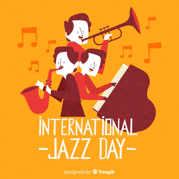 Hand drawn international jazz day background Free Vector