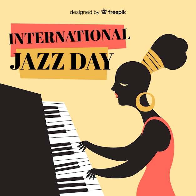 Hand drawn international jazz day background Free Vector