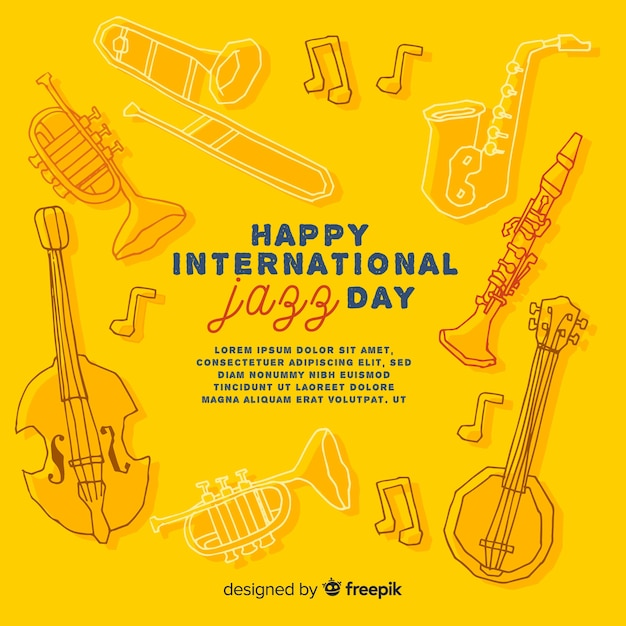 Priorità bassa di giorno di jazz internazionale disegnato a mano Vettore gratuito