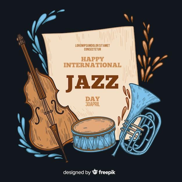 Hand drawn international jazz day background Vector | Free