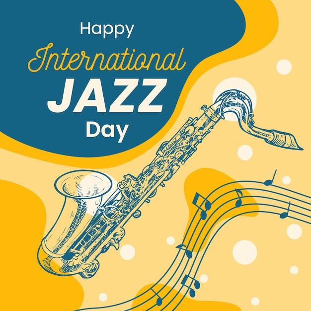 手描き国際ジャズの日のコンセプト 無料ベクター