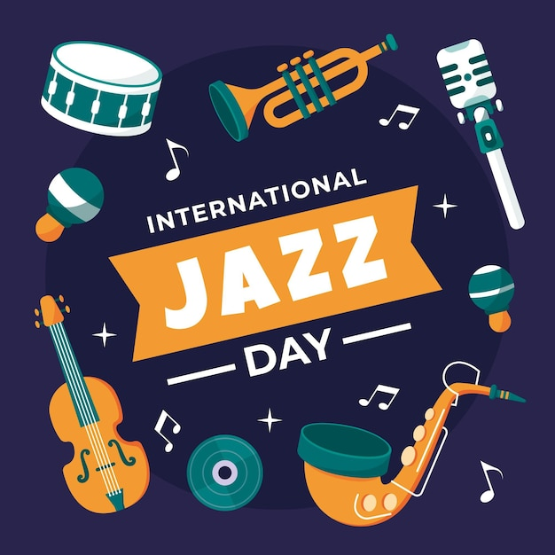 Hand drawn international jazz day illustration Free Vector