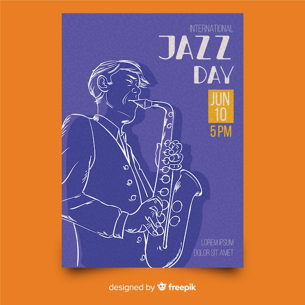 Hand drawn international jazz day poster template Free Vector