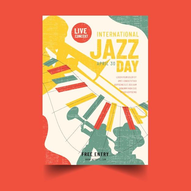 Нарисованный от руки плакат международного дня джаза Бесплатные векторы