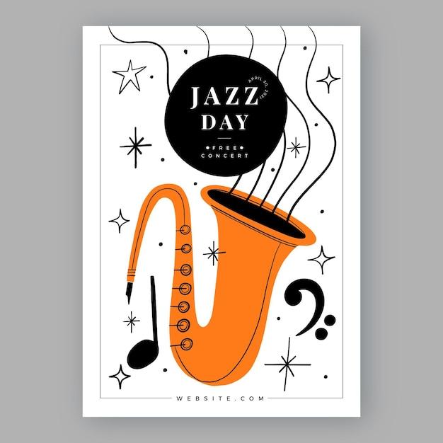 Ручной обращается шаблон вертикального плаката международного дня джаза Бесплатные векторы