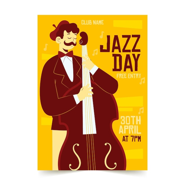 Hand drawn international jazz day vertical poster template Free Vector
