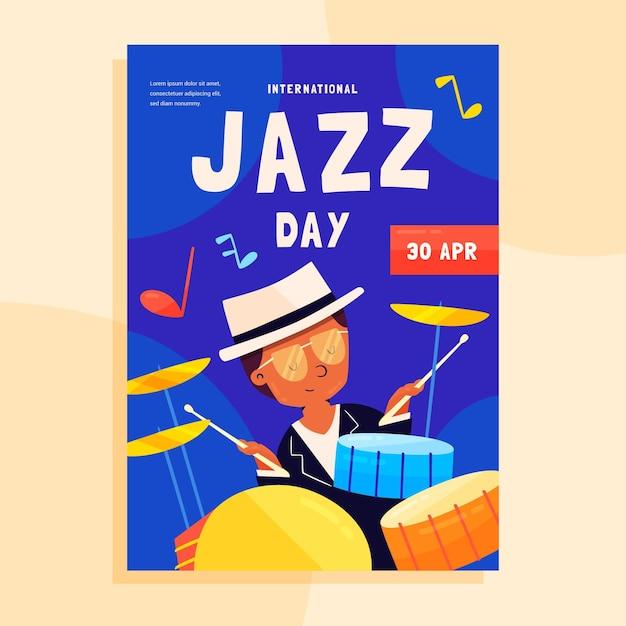 Ручной обращается шаблон вертикального плаката международного дня джаза Premium векторы