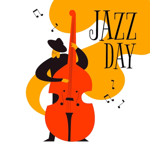 Ручной обращается международный день джаза Бесплатные векторы
