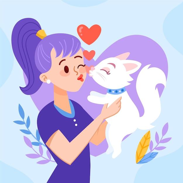 여자와 고양이와 손으로 그린 국제 키스 하루 그림 무료 벡터