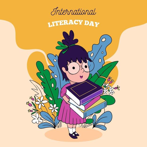 Ручной обращается концепция международного дня грамотности Бесплатные векторы
