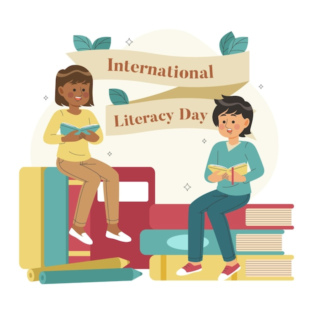 Hand drawn international literacy day with characters Free Vector