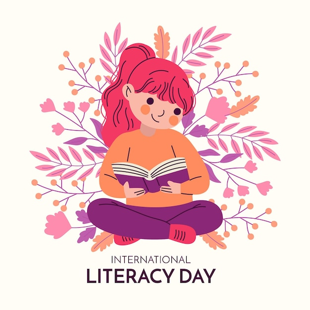 Hand drawn international literacy day Free Vector