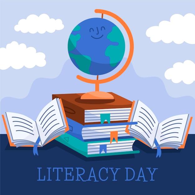 Ручной обращается международный день грамотности Бесплатные векторы