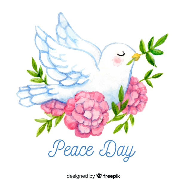 Hand drawn international peace day concept with white dove Free Vector