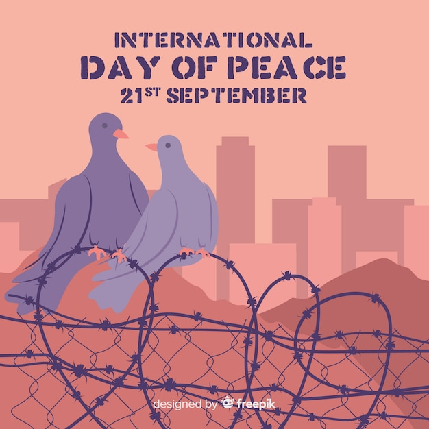 Hand drawn international peace day doves Free Vector