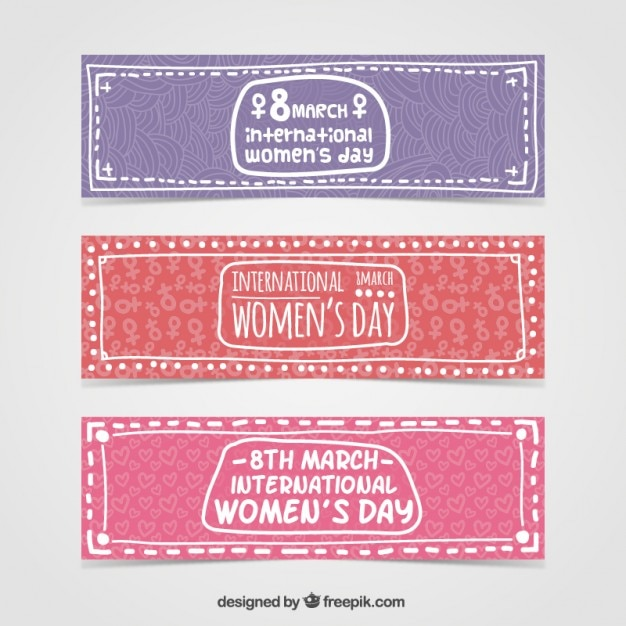 Hand drawn International Woman day banners