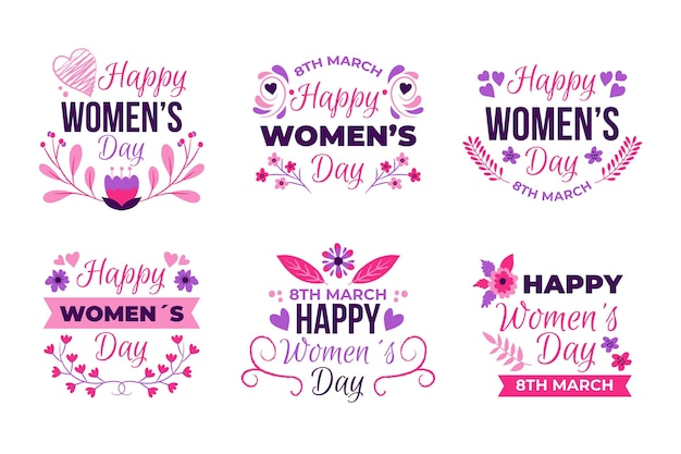 Hand drawn international women's day badge collection Free Vector