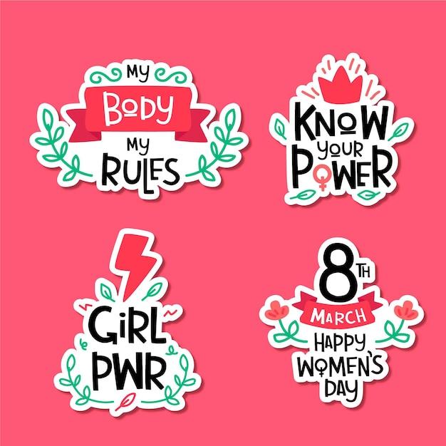 Hand drawn international women's day badge collection Premium Vector
