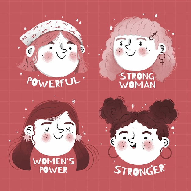 Hand drawn international women's day badge Free Vector