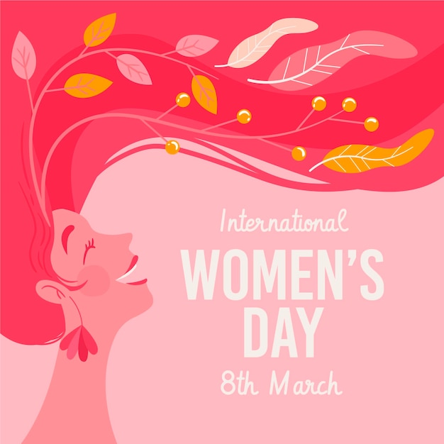 Hand-drawn international women's day illustration with woman with long hair Free Vector