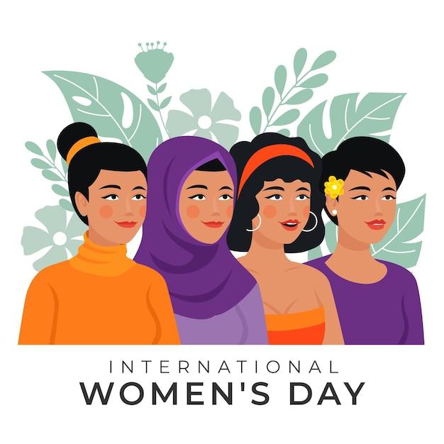 Нарисованная от руки иллюстрация международного женского дня с женщинами и листьями Бесплатные векторы