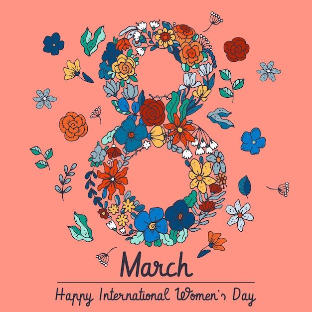 Нарисованная рукой иллюстрация международного женского дня Бесплатные векторы
