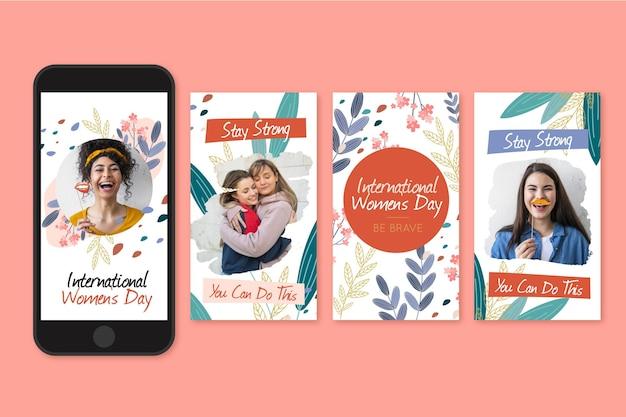 Коллекция историй instagram к международному женскому дню Бесплатные векторы